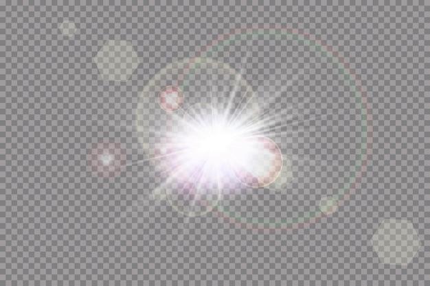 Efekt świetlny z przezroczystym światłem słonecznym. błysk słońca z promieniami i światłem punktowym.