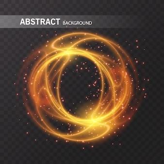 Efekt świetlny złoty okrąg. świecące światło śladu pierścienia ognia. błyszczący magiczny blask wirowy efekt szlaku na przezroczystym tle. lekka brokatowa okrągła linia fal