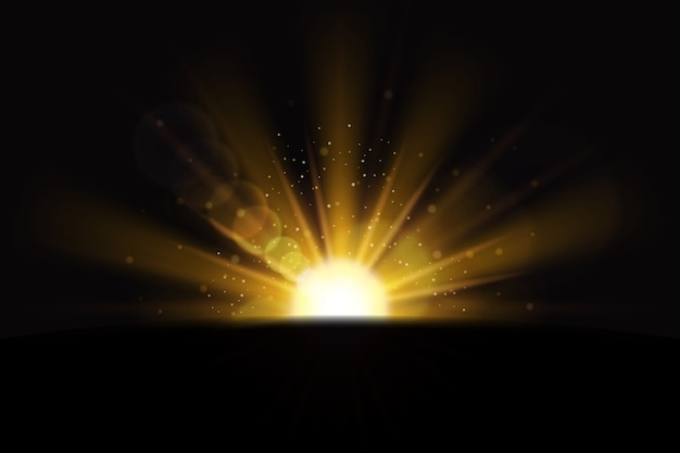 Efekt świetlny złoty wschód słońca