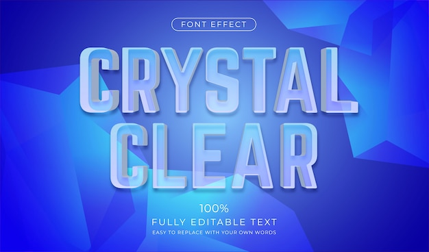 Efekt szklanego tekstu. edytowalny styl czcionki