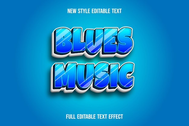 Efekt tekstowy 3d blues muzyka kolor niebieski i biały gradient