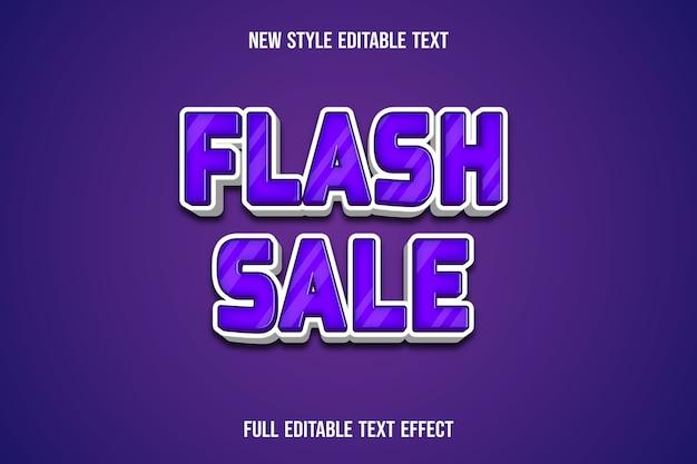 Efekt tekstowy 3d flash sprzedaż kolor fioletowy i biały gradient