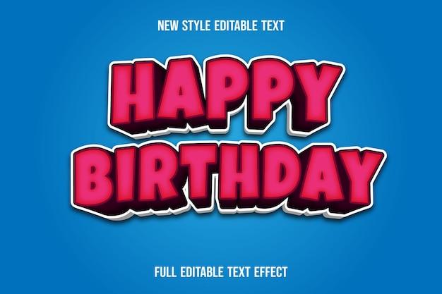 Efekt tekstowy 3d happy birthday kolor różowy i biały gradient
