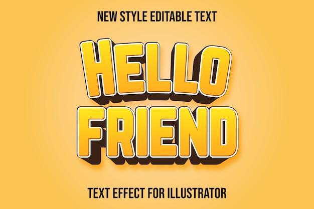 Efekt tekstowy 3d hello friend kolor żółty i brązowy gradient