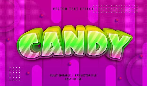 Efekt tekstowy 3d kolorowe cukierki, edytowalny styl tekstu
