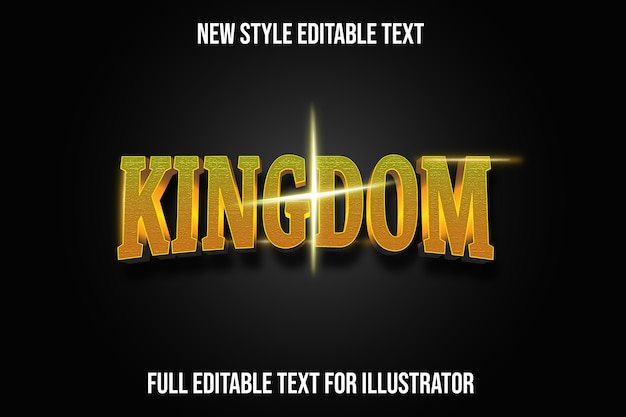 Efekt tekstowy 3d królestwo kolor żółty i złoty gradient