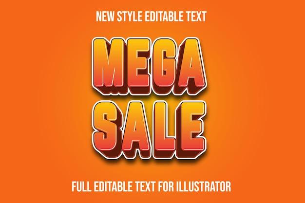 Efekt tekstowy 3d mega sprzedaż kolor żółty i pomarańczowy gradient