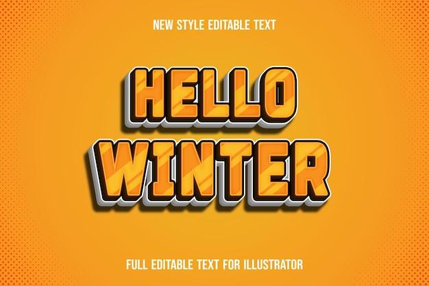 Efekt tekstowy 3d witaj zimowy kolor żółty i biały gradient