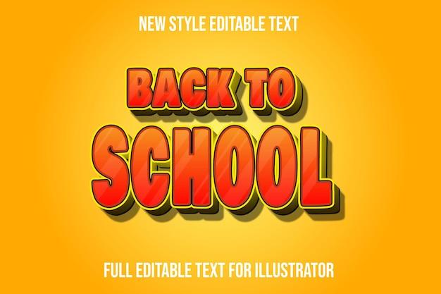 Efekt tekstowy 3d z powrotem do szkoły kolor pomarańczowy i żółty gradient