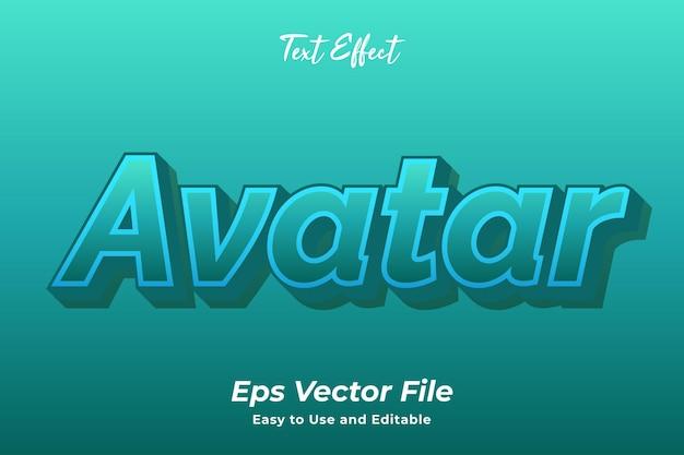 Efekt tekstowy avatar edytowalny i łatwy w użyciu wektor premium