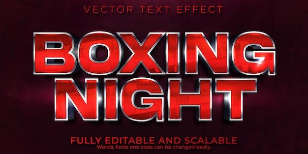 Efekt tekstowy boxing night, edytowalny metaliczny i czerwony styl tekstu