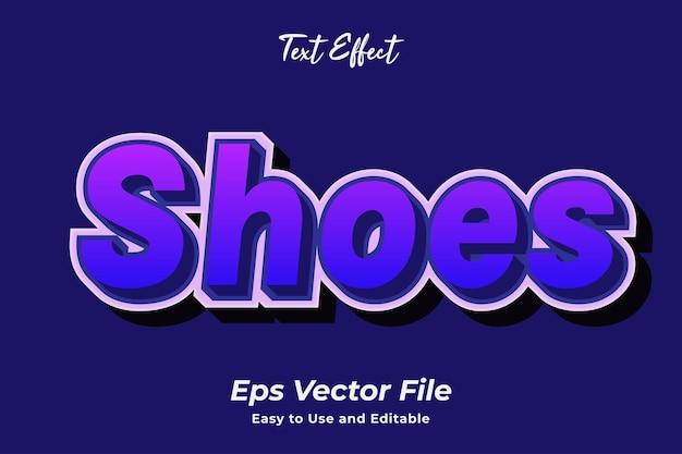 Efekt tekstowy buty łatwy w użyciu i edytowalny wektor premium