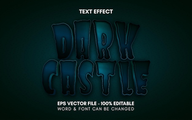 Efekt tekstowy ciemnego zamku motyw w stylu halloween edytowalny efekt tekstowy