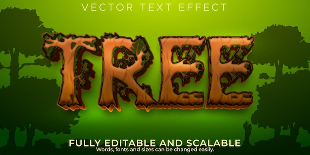 Efekt tekstowy drzewa lasu edytowalny naturalny i zielony styl tekstu