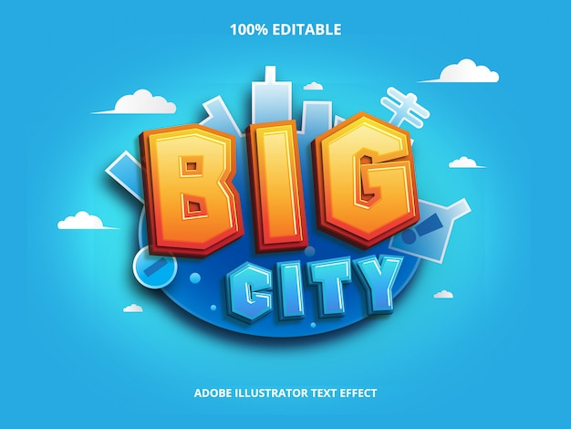 Efekt tekstowy dużego miasta, edytowalny