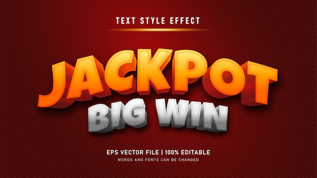 Efekt tekstowy dużej wygranej jackpot. edytowalny efekt tekstowy