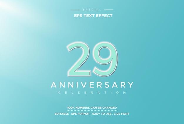 Efekt tekstowy dwudziestego dziewiątego urodzin na jasnoniebieskim tle