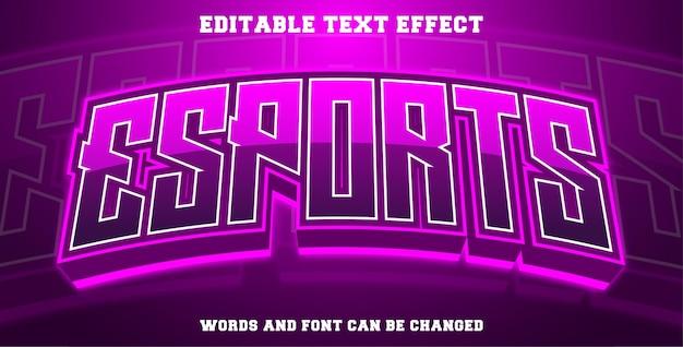 Efekt tekstowy e-sport w kolorze fioletowym