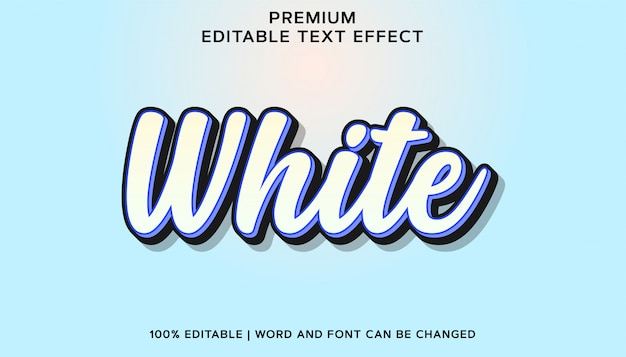 Efekt tekstowy edytowalnej czcionki white premium