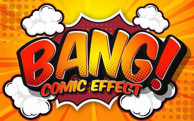 Efekt tekstowy edytowalny szablon efektu stylu komiksowego bang