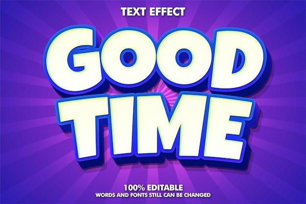 Efekt tekstowy edytowalny tekst kreskówki dobry czas naklejki