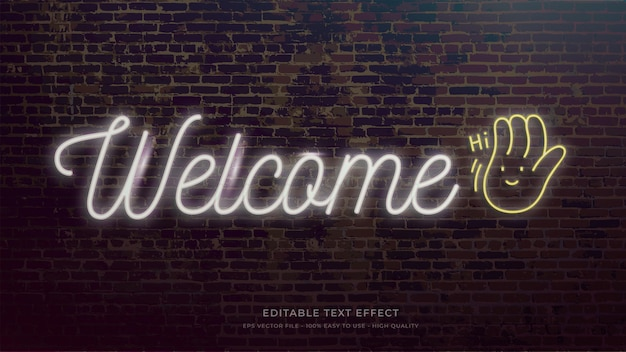 Efekt tekstowy edytowalny typografia znak powitalny