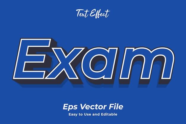 Efekt tekstowy egzamin edytowalny i łatwy w użyciu wektor premium