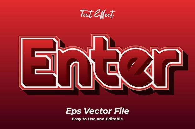 Efekt tekstowy enter edytowalny i łatwy w użyciu wektor premium