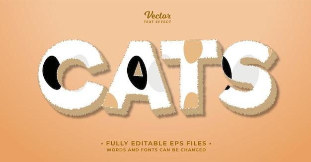 Efekt tekstowy futra kota edytowalne słowa i czcionki eps cc można zmienić