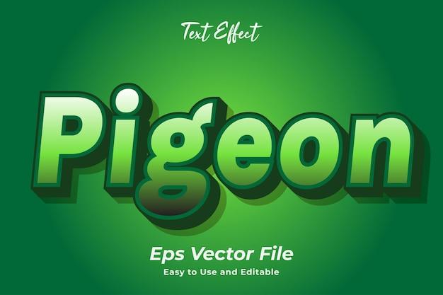 Efekt tekstowy gołąb łatwy w użyciu i edytowalny wektor premium