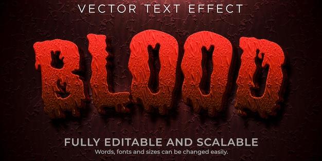 Efekt tekstowy horroru krwi, edytowalny, przerażający i czerwony styl tekstu