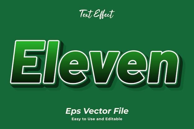 Efekt tekstowy jedenaście edytowalny i łatwy w użyciu wektor premium