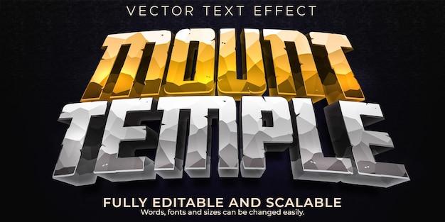 Efekt tekstowy kamiennej świątyni, edytowalna gra i styl tekstu rockowego
