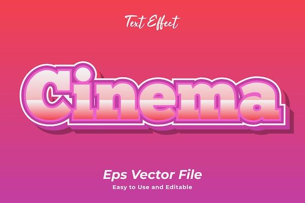 Efekt tekstowy kino edytowalny i łatwy w użyciu wektor premium
