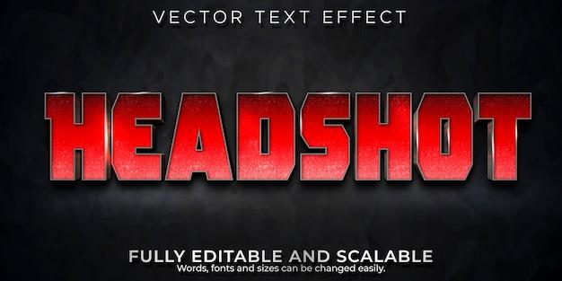 Efekt tekstowy kino headshot, edytowalny czerwony i metaliczny styl tekstu