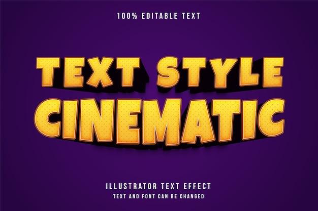 Efekt tekstowy kinowy, edytowalny efekt tekstowy żółty gradacja pomarańczowy komiksowy styl tekstu