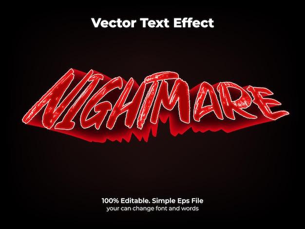Efekt tekstowy koszmar edytowalny noc i przerażający styl tekstu