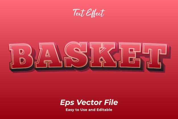 Efekt tekstowy koszyk łatwy w użyciu i edytowalny wektor premium