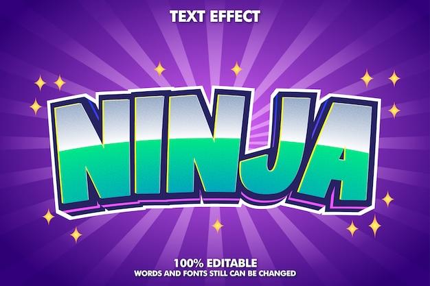 Efekt tekstowy kreskówka ninja