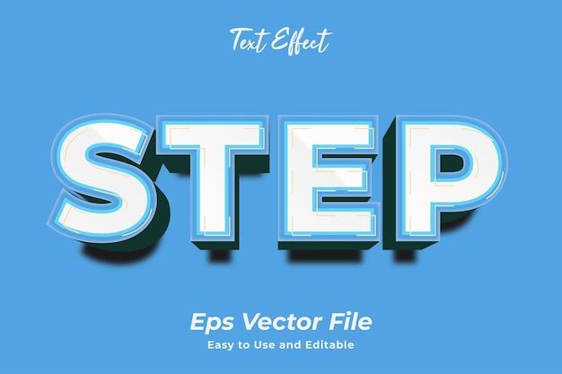 Efekt tekstowy krok edytowalny i łatwy w użyciu wektor premium