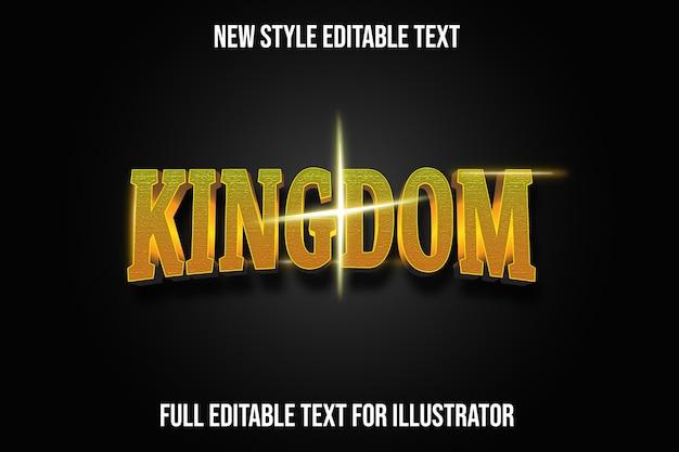Efekt tekstowy królestwo kolor żółty i złoty gradient