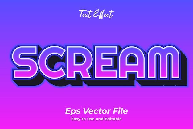 Efekt tekstowy krzyk edytowalny i łatwy w użyciu wektor premium