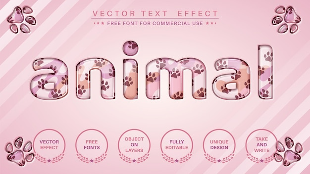 Efekt tekstowy łapy zwierząt