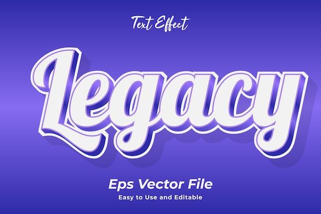 Efekt tekstowy legacy edytowalny i łatwy w użyciu wektor premium