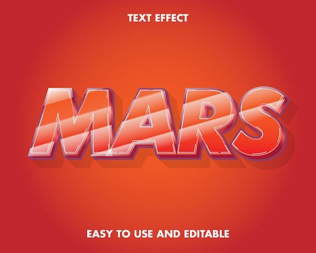 Efekt tekstowy marsa. łatwy w użyciu i edytowalny. ilustracja wektorowa premium