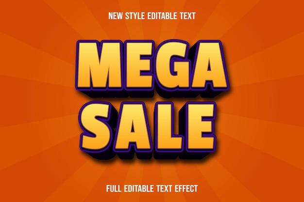 Efekt tekstowy mega wyprzedaż w kolorze żółtym i fioletowym