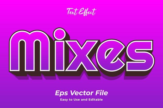 Efekt tekstowy mieszanki edytowalny i łatwy w użyciu wektor premium