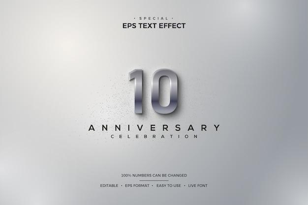 Efekt tekstowy na 10. rocznicę z eleganckimi metalowymi srebrnymi cyframi 3d