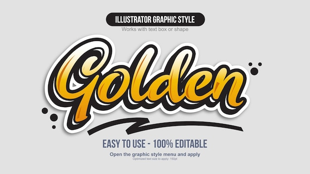 Efekt tekstowy naklejki żółty pomarańczowy kaligrafia