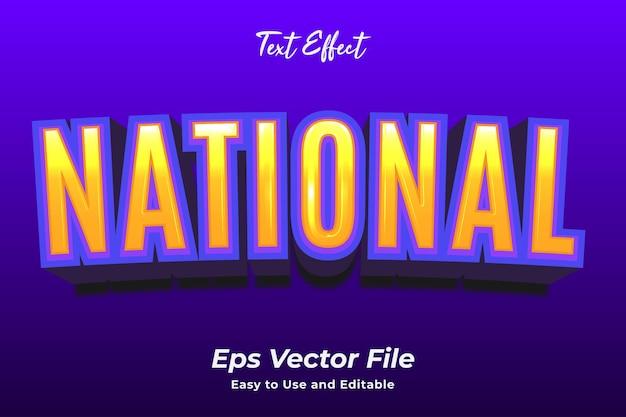 Efekt tekstowy narodowy edytowalny i łatwy w użyciu wektor premium